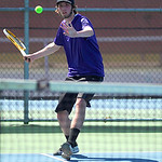 Avon's Chance Nicklaus returns a ball toward Avon Lake during their third singles, first-place match.