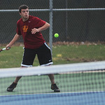Avon Lake's Tim Vallari plays second singles against Westlake's Aris Jhaveri.