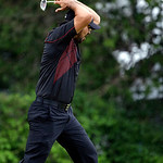 Jason Day, of Australia, reacts after a putt on the 15th hole during the fourth round of the U.S. Open golf tournament at Merion Golf Club, Sunday, June 16, 2013, in Ardmore, Pa. (AP Photo/D …