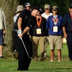 Phil Mickelson hits down the 14th hole during the fourth round of the U.S. Open golf tournament at Merion Golf Club, Sunday, June 16, 2013, in Ardmore, Pa. (AP Photo/Julio Cortez)