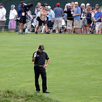 Phil Mickelson reacts after a shot on the 15th hole during the fourth round of the U.S. Open golf tournament at Merion Golf Club, Sunday, June 16, 2013, in Ardmore, Pa. (AP Photo/Darron Cumm …