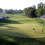 Justin Rose, of England, reacts after putting on the 18th hole during the fourth round of the U.S. Open golf tournament at Merion Golf Club, Sunday, June 16, 2013, in Ardmore, Pa. (AP Photo/ …