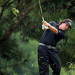 Phil Mickelson hits for an eagle on the 10th hole during the fourth round of the U.S. Open golf tournament at Merion Golf Club, Sunday, June 16, 2013, in Ardmore, Pa. (AP Photo/Charlie Riede …