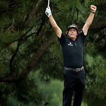 Phil Mickelson reacts after hitting an eagle in the 10th hole during the fourth round of the U.S. Open golf tournament at Merion Golf Club, Sunday, June 16, 2013, in Ardmore, Pa. (AP Photo/C …