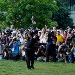 Phil Mickelson hits down the 18th hole during the fourth round of the U.S. Open golf tournament at Merion Golf Club, Sunday, June 16, 2013, in Ardmore, Pa. (AP Photo/Julio Cortez)
