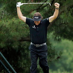 Phil Mickelson reacts after hitting an eagle on the 10th hole during the fourth round of the U.S. Open golf tournament at Merion Golf Club, Sunday, June 16, 2013, in Ardmore, Pa. (AP Photo/C …