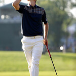 Justin Rose, of England, reacts after a putt on the 18th hole during the fourth round of the U.S. Open golf tournament at Merion Golf Club, Sunday, June 16, 2013, in Ardmore, Pa. (AP Photo/M …