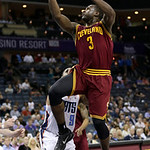 Cleveland Cavaliers' Dion Waiters (3) shoots against the Charlotte Bobcats during the second half of an NBA basketball game in Charlotte, N.C., Wednesday, April 17, 2013. The Bobcats won 105 …