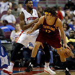 Detroit Pistons center Andre Drummond (1) guards Cleveland Cavaliers center Anderson Varejao (17), of Brazil, in the second half of an NBA basketball game in Auburn Hills, Mich., Monday, Dec …