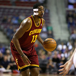 Cleveland Cavaliers forward Tristan Thompson (13) drives against the Detroit Pistons in the first half of a NBA basketball game in Auburn Hills, Monday, Dec. 3, 2012. (AP Photo/Paul Sancya)