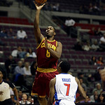 Cleveland Cavaliers guard Jeremy Pargo (8) shoots over Detroit Pistons guard Brandon Knight (7) in the first half of a NBA basketball game in Auburn Hills, Monday, Dec. 3, 2012. (AP Photo/Pa …