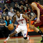 Detroit Pistons guard Brandon Knight (7) drives against Cleveland Cavaliers center Anderson Varejao (17), of Brazil, in the second half of an NBA basketball game in Auburn Hills, Mich., Mond …