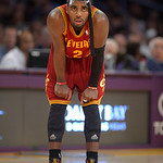Cleveland Cavaliers guard Kyrie Irving looks on during the first half of their NBA basketball game against the Los Angeles Lakers, Sunday, Jan. 13, 2013, in Los Angeles. (AP Photo/Mark J. Te …