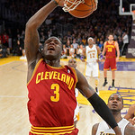 Cleveland Cavaliers guard Dion Waiters dunks as Los Angeles Lakers forward Earl Clark looks on during the first half of their NBA basketball game, Sunday, Jan. 13, 2013, in Los Angeles. (AP  …