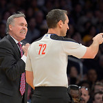 Los Angeles Lakers head coach Mike D'Antoni, left, yells at referee J.T. Orr during the first half of their NBA basketball game against the Cleveland Cavaliers, Sunday, Jan. 13, 2013, in Los …