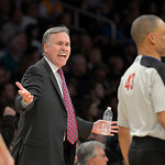 Los Angeles Lakers head coach Mike D'Antoni, left, yells at referee Dan Crawford during the first half of their NBA basketball game against the Cleveland Cavaliers, Sunday, Jan. 13, 2013, in …