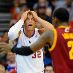 Los Angeles Clippers forward Blake Griffin reacts to a call from officials in the first half of an NBA basketball game against the Cleveland Cavaliers, Monday, Nov. 5, 2012, in Los Angeles.  …
