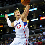 Los Angeles Clippers forward Blake Griffin (32) dunks in the second half of an NBA basketball game against the Cleveland Cavaliers, Monday, Nov. 5, 2012, in Los Angeles. The Cavaliers won 10 …