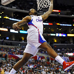 Los Angeles Clippers center DeAndre Jordan loses the ball as he goes to the basket in the first half of an NBA basketball game against the Cleveland Cavaliers, Monday, Nov. 5, 2012, in Los A …