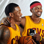 Cleveland Cavaliers forward Alonzo Gee, left, laughs while being interviewed by guard C.J. Miles during their NBA basketball media day at the team's training facility in Independence, Ohio,  …