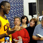 Cleveland Cavaliers guard Dion Waiters talks to reporters during their NBA basketball media day at the team's training facility in Independence, Ohio, Monday, Oct. 1, 2012. (AP Photo/Phil Lo …