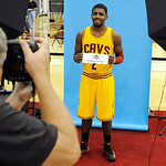 Cleveland Cavaliers guard Kyrie Irving poses for a photo during their NBA basketball media day at the team's training facility in Independence, Ohio, Monday, Oct. 1, 2012. (AP Photo/Phil Lon …