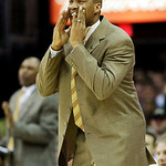 Cleveland Cavaliers head coach Byron Scott yells to his team late in the fourth quarter of an NBA basketball game against the Detroit Pistons, Wednesday, April 10, 2013, in Cleveland. Detroi …