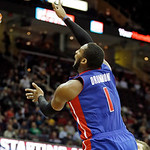 Detroit Pistons' Andre Drummond shoots against the Cleveland Cavaliers in the third quarter of an NBA basketball game on Wednesday, April 10, 2013, in Cleveland. Drummond scored a career-hig …