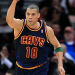 Cleveland Cavaliers' Anthony Parker celebrates a 3-point shot against the Charlotte Bobcats in the third quarter of an NBA basketball game Tuesday, April 10, 2012, in Cleveland. Parker score …
