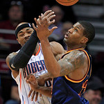Charlotte Bobcats' Corey Maggette, left, and Cleveland Cavaliers' Alonzo Gee vie for possession of the ball during the first quarter of an NBA basketball game Tuesday, April 10, 2012, in Cle …