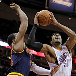 Charlotte Bobcats' Corey Maggette (50) takes a shot against Cleveland Cavaliers' Samardo Samuels during the first quarter of an NBA basketball game Tuesday, April 10, 2012, in Cleveland. (AP …