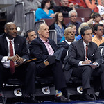 Philadelphia 76ers head coach Doug Collins is shown during an NBA basketball game against the Cleveland Cavaliers, Sunday, April 14, 2013, in Philadelphia. The 76ers won 91-77. (AP Photo/Mic …