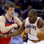 Cleveland Cavaliers' Antawn Jamison, right, tries to get past Washington Wizards' Jan Vesely, left, from the Czech Republic, in the first quarter in an NBA basketball game on Wednesday, Apr …