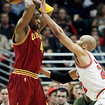 Cleveland Cavaliers forward Antawn Jamison (4) looks to a pass as Chicago Bulls forward Taj Gibson (22) defends during the second half of an NBA basketball game in Chicago, Thursday, April 2 …
