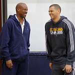 Cleveland Cavaliers' Anthony Parker, right, shares a laugh with head coach Byron Scott following his end of season talk with the coach at the team's practice facility in Independence, Ohio,  …