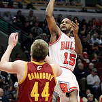 Chicago Bulls guard John Lucas III (15) shoots over Cleveland Cavaliers forward Luke Harangody (44) during the second half of an NBA basketball game in Chicago, Thursday, April 26, 2012. The …