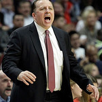 Chicago Bulls head coach Tom Thibodeau yells his team during the second half of an NBA basketball game against the Cleveland Cavaliers in Chicago, Thursday, April 26, 2012. The Bulls won 107 …