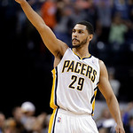 Indiana Pacers forward Jeff Pendergraph salutes the fans following the Pacers' 99-94 win over Cleveland Cavaliers in an NBA basketball game in Indianapolis, Tuesday, April 9, 2013.  (AP Phot …
