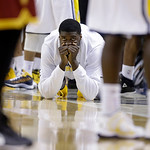 Indiana Pacers center Roy Hibbert watches front the bench in the final minute against the Cleveland Cavaliers in the second half of an NBA basketball game in Indianapolis, Tuesday, April 9, …