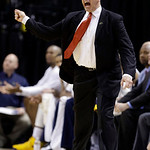 Indiana Pacers coach Frank Vogel screams at an official, as he receives the first of two consecutive technical fouls in the second half of an NBA basketball game against the Cleveland Cavali …
