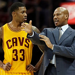 Cleveland Cavaliers head coach Byron Scott instructs Alonzo Gee (33) in the first quarter of an NBA basketball game against the Los Angeles Lakers, Tuesday, Dec. 11, 2012, in Cleveland. (AP …