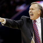 Los Angeles Lakers head coach Mike D'Antoni yells at his team in the fourth quarter of an NBA basketball game against the Cleveland Cavaliers, Tuesday, Dec. 11, 2012, in Cleveland. The Caval …