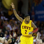 Cleveland Cavaliers' Kyrie Irving celebrates making a 3-point shot in an NBA basketball game against the Los Angeles Lakers Tuesday, Dec. 11, 2012, in Cleveland. (AP Photo/Mark Duncan)