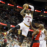 Cleveland Cavaliers' Dion Waiters (3) shoots against Toronto Raptors' John Lucas in an NBA basketball game Tuesday, Dec. 18, 2012, in Cleveland. (AP Photo/Mark Duncan)