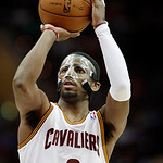 Cleveland Cavaliers' Kyrie Irving shoots a free throw against the Toronto Raptors in an NBA basketball game Tuesday, Dec. 18, 2012, in Cleveland. (AP Photo/Mark Duncan)