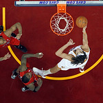 Cleveland Cavaliers' Anderson Varejao, from Brazil, shoots against the Toronto Raptors in an NBA basketball game Tuesday, Dec. 18, 2012, in Cleveland. (AP Photo/Mark Duncan)