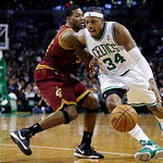Boston Celtics forward Paul Pierce (34) drives against Cleveland Cavaliers forward Alonzo Gee (33) during the second quarter of an NBA basketball game in Boston, Wednesday, Dec. 19, 2012. (A …
