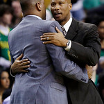 Cleveland Cavaliers head coach Byron Scott, right, embraces Boston Celtics head coach Doc Rivers after an NBA basketball game in Boston, Wednesday, Dec. 19, 2012. The Celtics won 103-91. (AP …