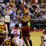 Cleveland Cavaliers forward Tristan Thompson (13) shoots over Washington Wizards center Emeka Okafor (50) in the second half of an NBA basketball game, Wednesday, Dec. 26, 2012, in Washingto …