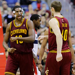 Cleveland Cavaliers forward Tristan Thompson, left, reacts with center Tyler Zeller in the second half of an NBA basketball game against the Washington Wizards, Wednesday, Dec. 26, 2012, in  …